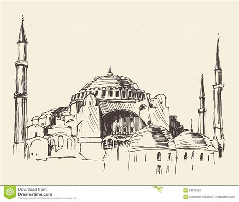 Building Floor Plans Free by Istanbul Turkey Hagia Sophia Engraved Sketch Stock