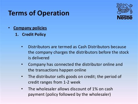 Format Of Credit Policy 01 Nestle Sales And Distribution