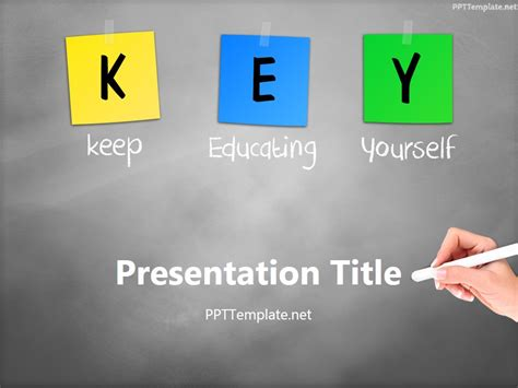 Free Key Chalk Hand White Ppt Template Free Powerpoint Templates Education
