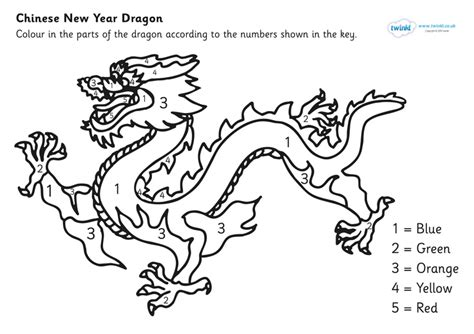 chinese dragon coloring pages easy chinese dragon colouring by numbers sheet pop over to