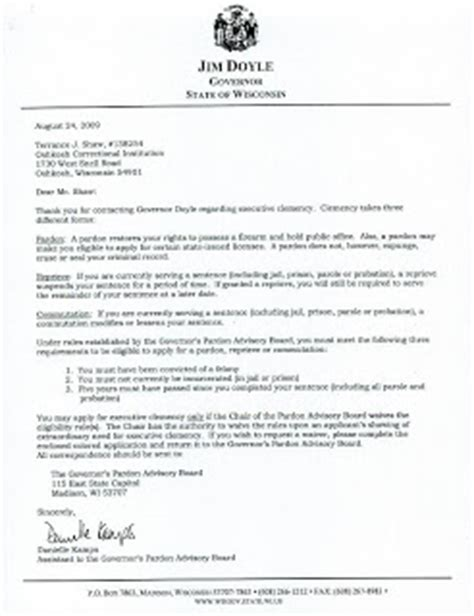 Sle Petition Letter For Pardon To Governor Terrance Shaw A Plea For A Second Chance Clemency Request
