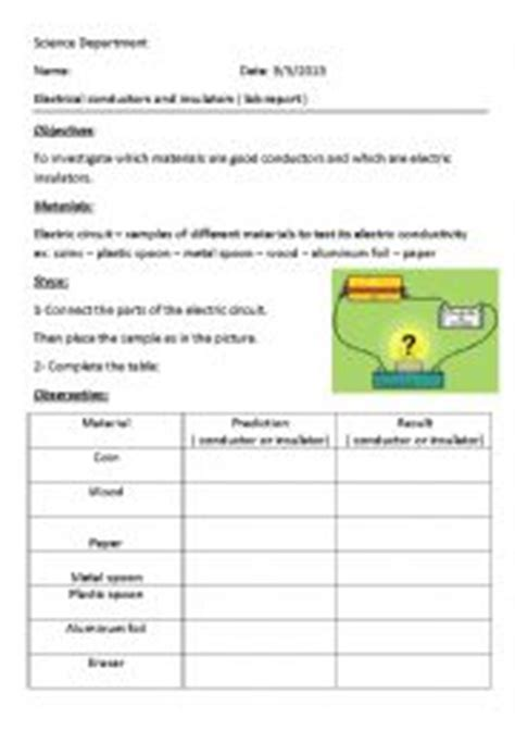electrical conductors and insulators worksheet worksheets electrical conductors and insulators
