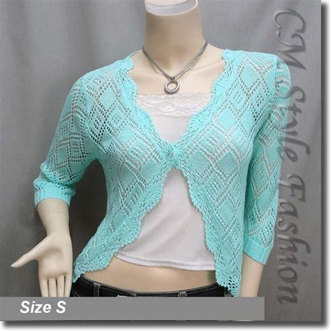 Scallop Knit Top scallop edge crochet knit cardigan sweater top aqua