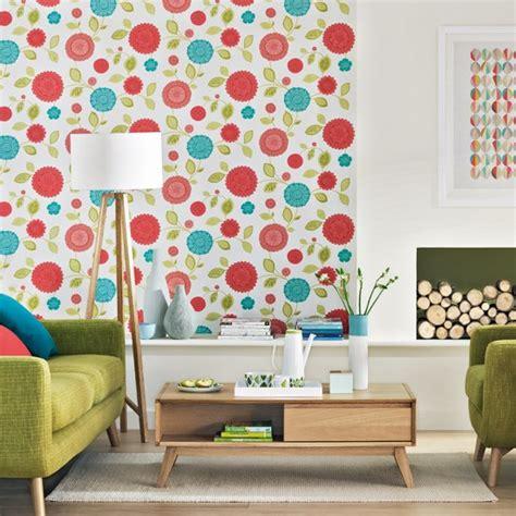 Retro Living Uk Retro Living Room With Floral Wallpaper Living Room Decoration Housetohome Co Uk