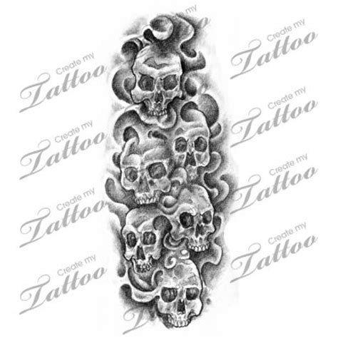 multiple skull tattoo designs smoke and skulls design horror designs