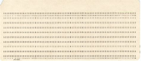 Computer Punch Card Template by Herman Hollerith