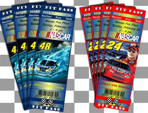 printable nascar tickets 17 best images about race party on pinterest birthdays
