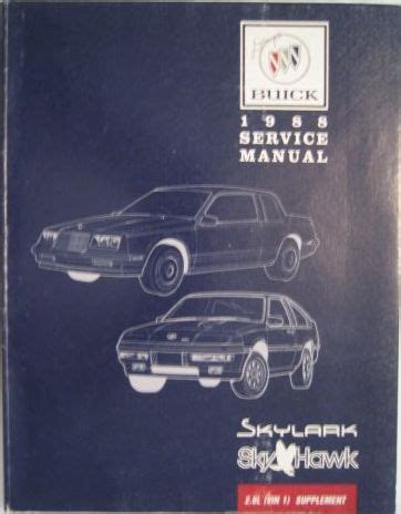 online auto repair manual 1988 buick skyhawk instrument cluster tat buick factory paper service repair manuals