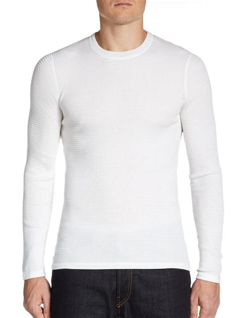 waffle knit crew lyst vince waffle knit crew neck top in white for