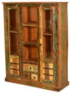 Display Cabinets Houzz Speckled Rustic Reclaimed Wood Display Cabinet W Glass