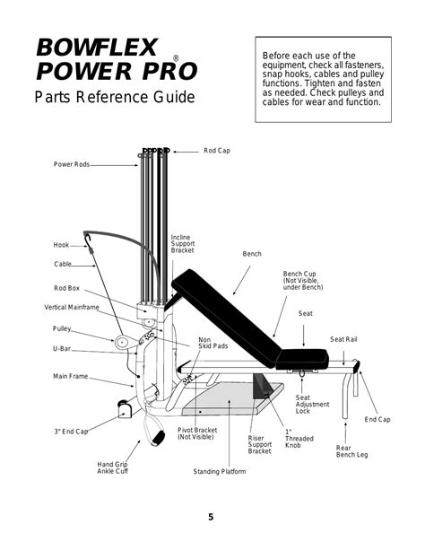 bowflex power pro parts reference guide bowflex xtl