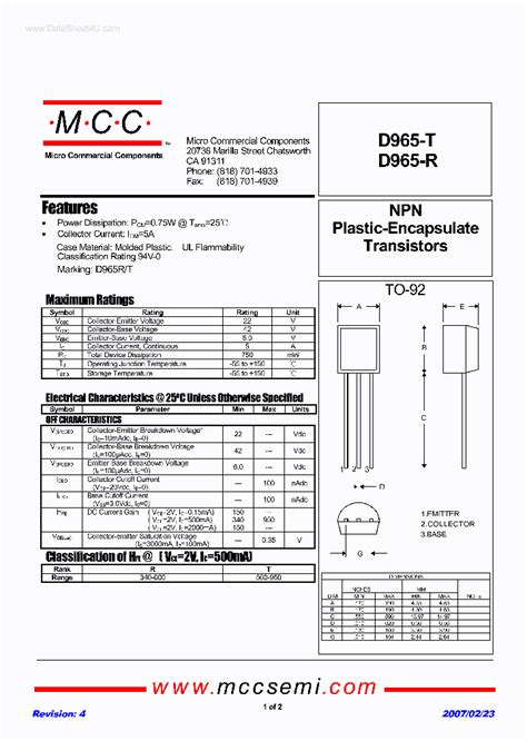 d965 transistor vergleichstyp d965 r 238655 pdf datasheet ic on line