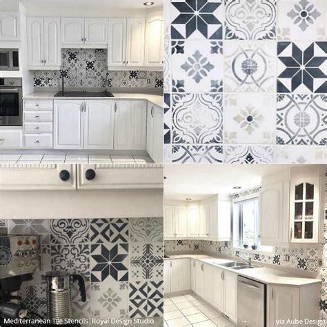 diy tile kitchen backsplash 12 stunning ideas for stenciling a diy kitchen backsplash design royal design studio stencils
