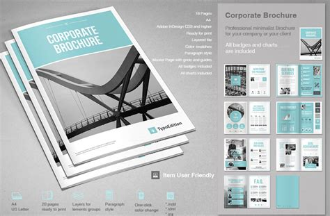 Corporate Design Vorlagen Indesign corporate brochure template for adobe indesign
