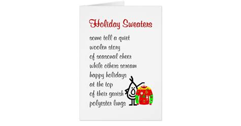 holiday sweaters a funny christmas poem card zazzle