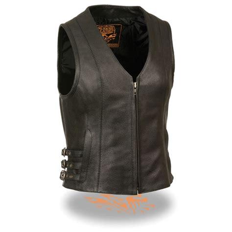 Premium Vest Zipper Harley Davidson 3 v neck zipper womens leather motorcycle vests concealed