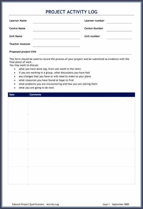 daily activity log template  ms word