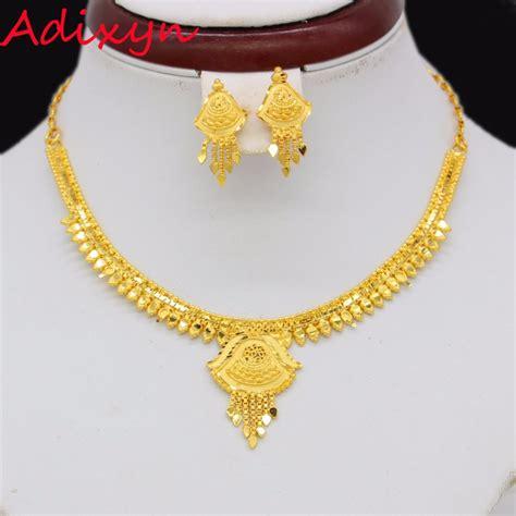 Set Necklace Earrings C73934 Gold adixyn light weight necklace earrings jewelry set for