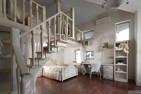 dreamy floral and white bedroom with mezzanine homework space and storage interior design ideas
