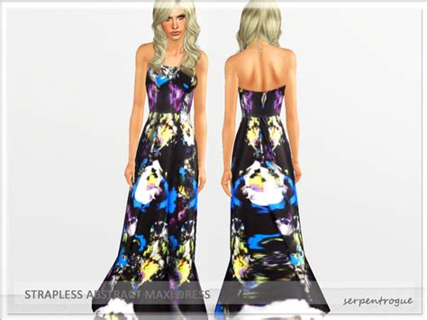 Gamis Fame Abstrak serpentrogue s strapless abstract maxi dress