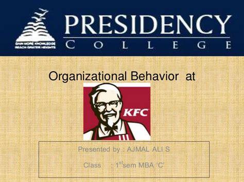 Suffolk Mba Organizational Behavior by Organizational Behavior At Kfc