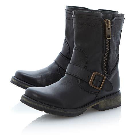 madden boots black steve madden forrt zipside cleated biker boots in black lyst