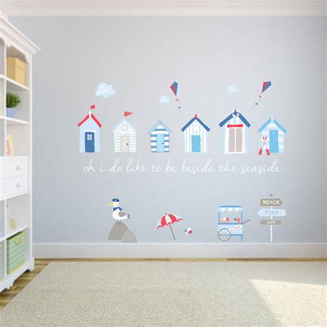seaside wall stickers huts fabric wall stickers by littleprints