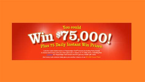 Diy Sweepstakes 75 000 - pepperidge farm instant win game win 75 000 75 gift card or a free loaf of bread
