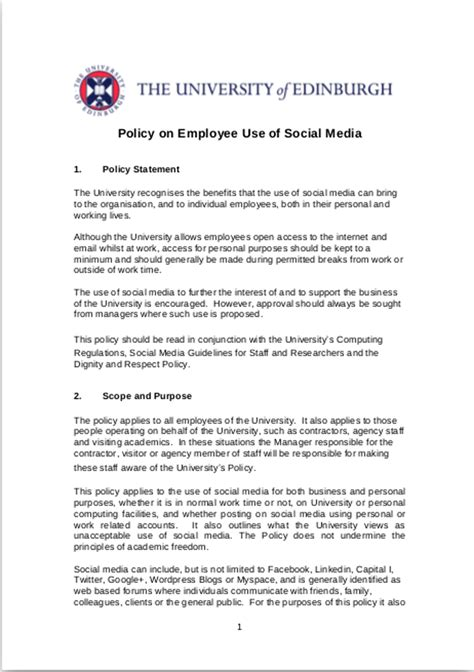 media statement template 11 social media policy exles sles