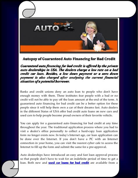 guaranteed auto financing with bad autopsy of guaranteed auto financing for bad credit