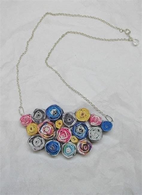 Paper Craft Earrings - recycled magazine necklace 183 a magazine necklace
