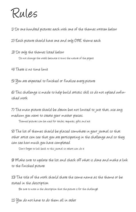 100 themes drawing challenge list 100 theme challenge rules by ravyre on deviantart