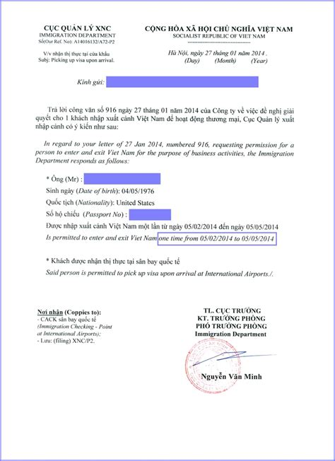 Visa Permission Letter Tourist Visa 3 Months Single Entry