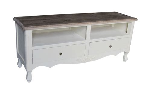 shabby chic cream television tv stand cabinet table rustic wood french country rustic wood