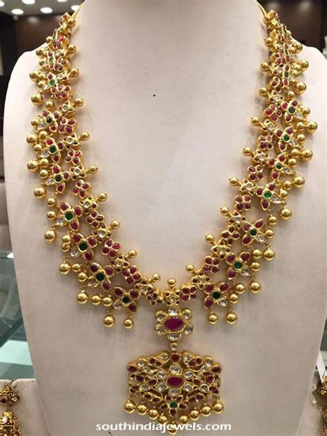 traditional gold necklace south india jewels