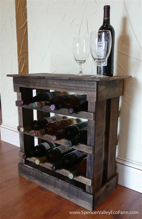 Wood Pallet Wine Rack by Pallet Wood 12 Bottle Wine Rack Floor Or Counter Top