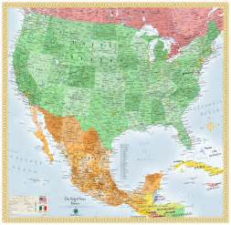 Usa Mexico Map by Usa And Mexico Wall Map Maps Com