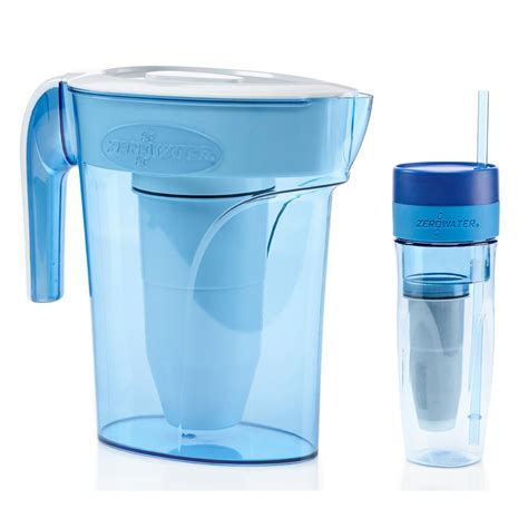 zero water pitcher zero water 6 cup pitcher and portable filtration tumbler zb 626 the home depot