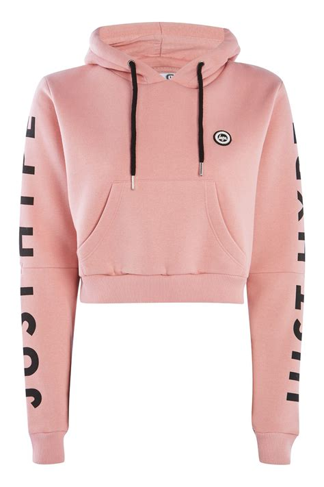 Crop Hoodie Jacket Pink dusty pink cropped cut out hoodie by hype topshop