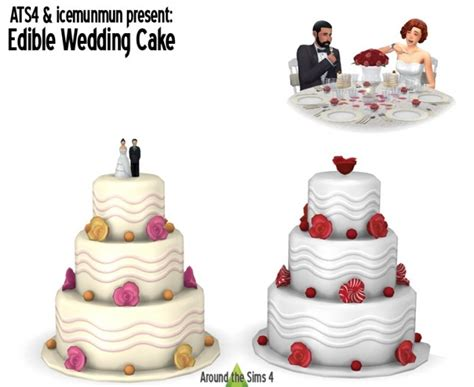 Wedding Cake In The Sims 4 by Edible Wedding Cake At Around The Sims 4 187 Sims 4 Updates