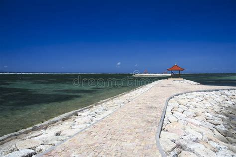 sanur beach seascape background bali indonesia stock image