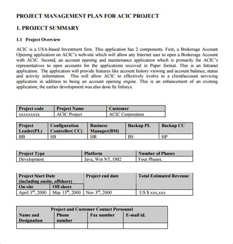 project management plan template doc sle configuration management plan template 9 free