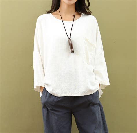 Blouse Pyta Katun Linen Import 1 cotton linen tops original sleeve neck blouses t shirt ebay
