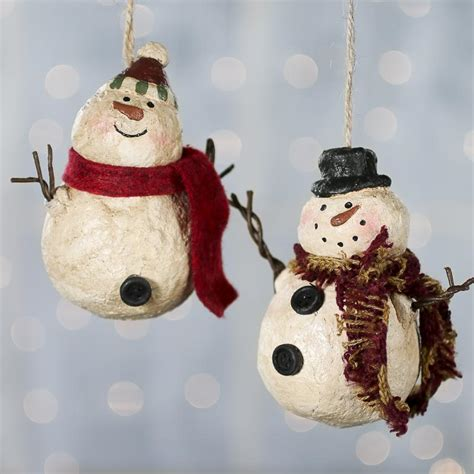 Paper Clay Crafts - primitive paper clay snowman ornament craft