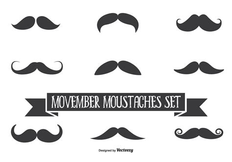 Set Mousthace movember vector moustache set free vector
