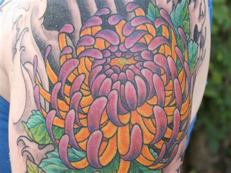 chrysanthemum flower tattoo purple and yellow chrysanthemum flower tattoos beautiful