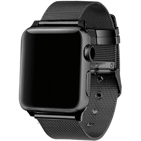 Milanese Watchband Untuk Apple Series 1 2 3 stainless steel milanese for apple band 38 42mm series 1 2 3 adjustable buckle black
