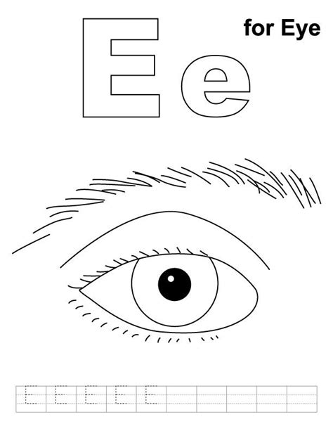 preschool eye coloring page e for eye coloring page with handwriting practice big