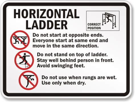swinging rules horizontal ladder rules signs playground rules signs sku