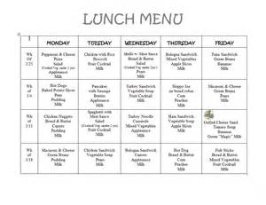 daycare menu templates 8 best images of printable preschool lunch menu